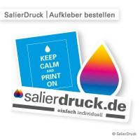 Aufkleber bestellen - individuell kalkulieren in Größe und Form - bei SalierDruck.de