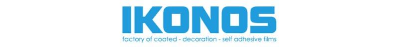 Unverwechselbar: Der Folienhersteller IKONOS ist in Großbuchstaben geschrieben und das Produktportfolio ist unter dem Logo auf den Punkt zusammengefasst..
