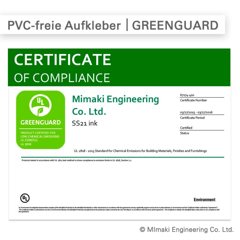 Das Greenguard-Zertifikat für die von uns verwendeten Farben bestätigt, dass die umweltschonenden Drucke an sensiblen Orten verwendet werden können.