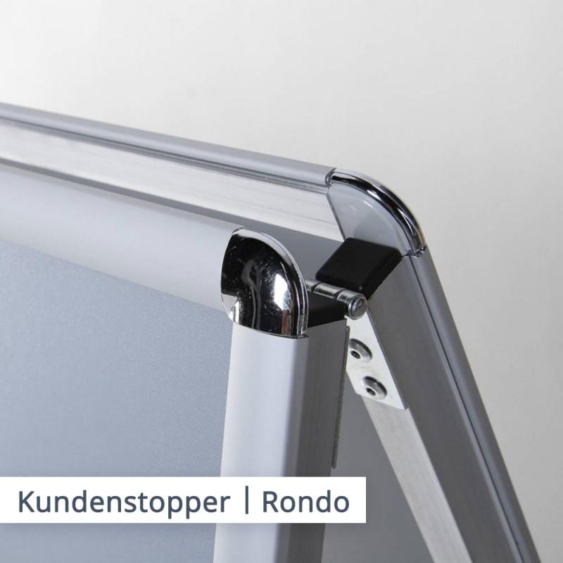 Der Kundenstopper in der Basic Variante ist in der beliebten Rondo Variante verfügbar.