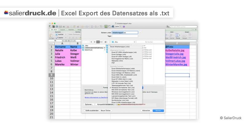 Excel Export des Datensatzes als txt Datei für die Datenzusammenführung | SalierDruck