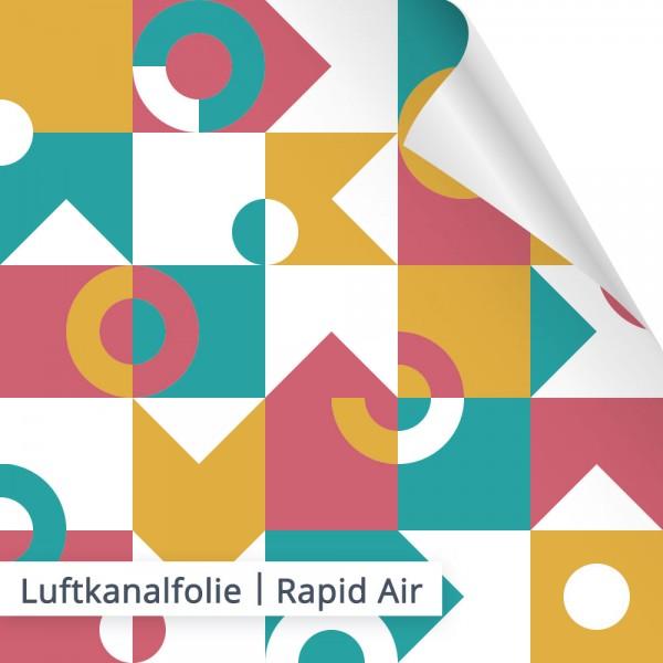Die Luftkanalfolien werden auch als Rapid Air Folien bezeichnet. Kleine Luftkänäle sorgen hierbei für eine blasenfreie Verklebung.