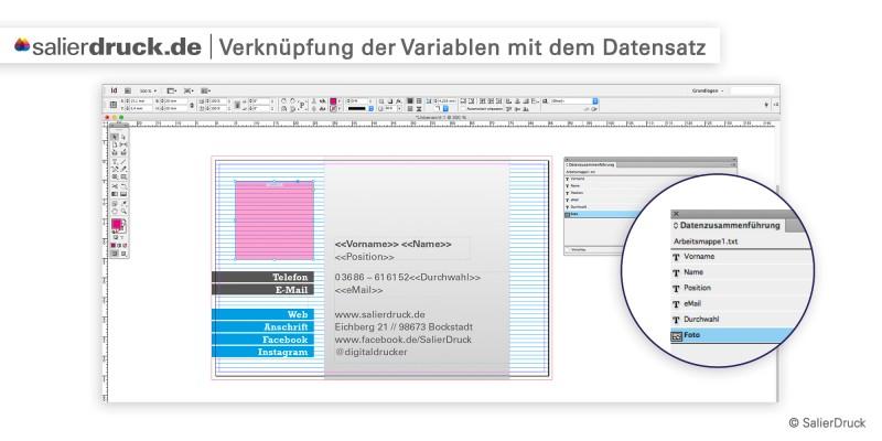 Verknüpfung der Variablen mit dem Datensatz – Datenzusammenführung | SalierDruck