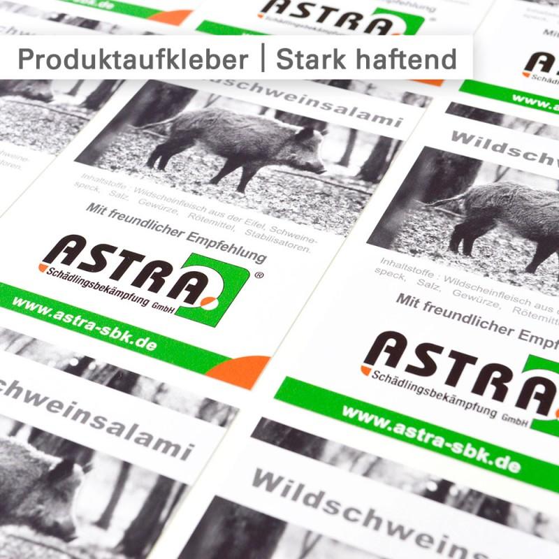 Produktaufkleber rechteckig geschnitten und mit individuellem Motiv bedruckt - SalierDruck.de