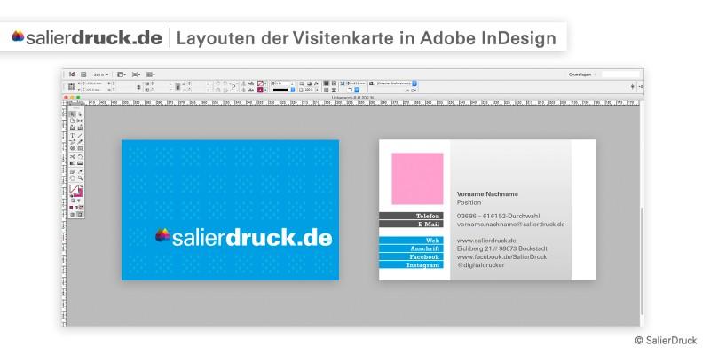 Layouten der Visitenkarte in Adobe InDesign – Datenzusammenführung | SalierDruck