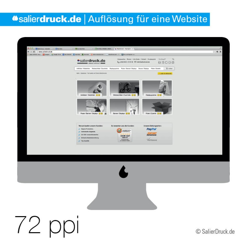 Die optimale Auflösung für Websites ist 72ppi.