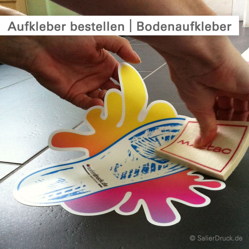 Bodenaufkleber bestellen - individuelle Größe und Form - bei SalierDruck.de