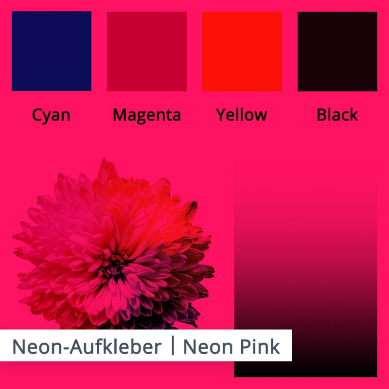 Hier sehen Sie die Abweichungen der Druckfarben für die Folie neon pink.