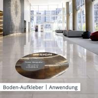 Bodenaufkleber im Eingangsbereich des Gebäuden lenken die Aufmerksamkeit der Passanten gleich auf Ihre Firma und die nahen Räumlichkeiten.