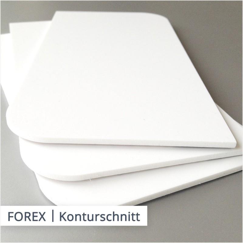 FOREX Hartschaumplatten können in vielen Formen mit Rundungen und Ecken zugeschnitten werden.