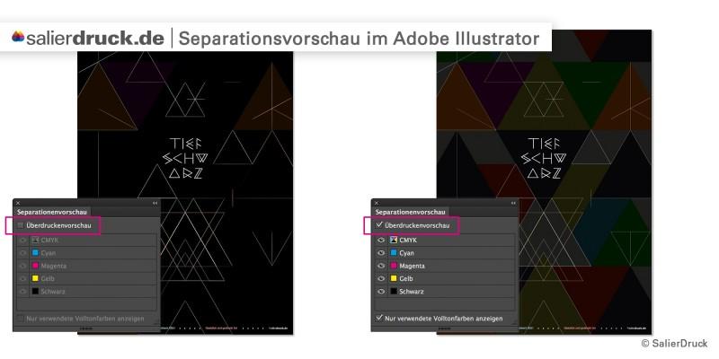 Die Seperationsvorschau im Adobe Illustrator