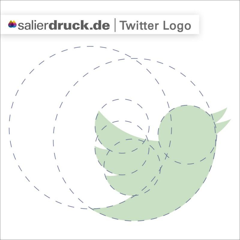 Konstruktion des Twitter Logos aus der Grundform Kreis – SalierDruck
