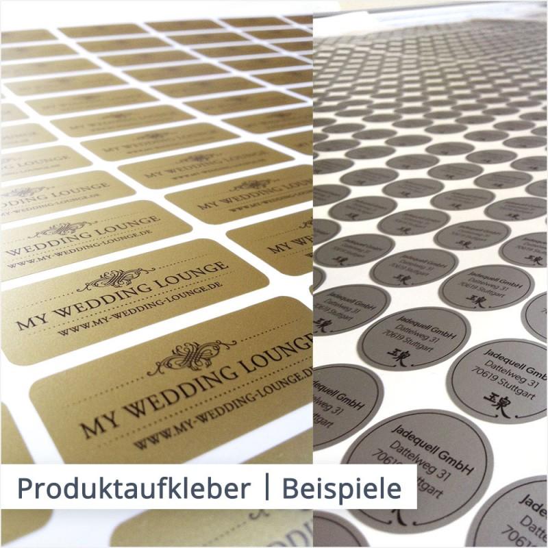 Produktaufkleber können beispielsweise in rechteckiger Form mit abgerundeten Ecken oder in runder Form zugeschnitten werden.