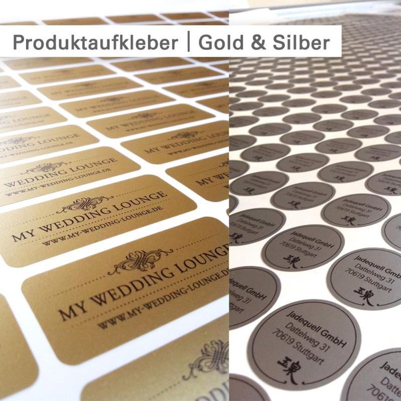 Produktaufkleber rund auf Klebefolie Silber - individuell bedruckt bei SalierDruck.de
