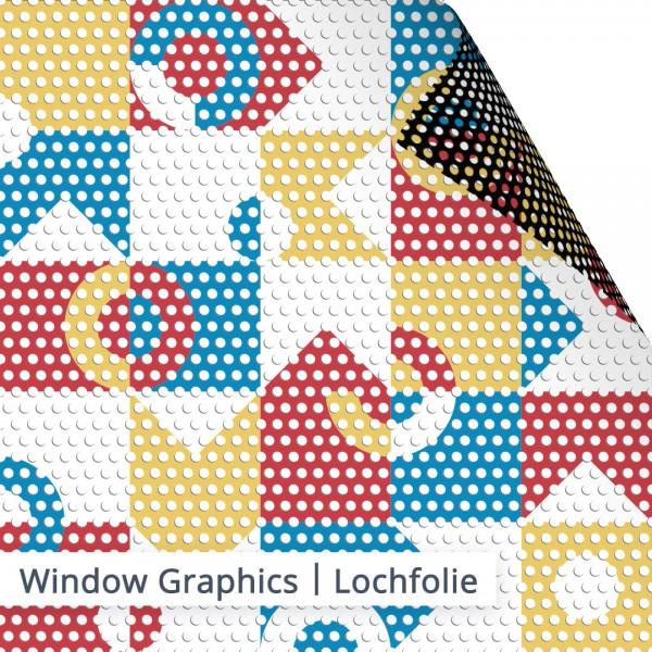 SalierDruck - Schaufenster Lochfolie individuell bedruckt.