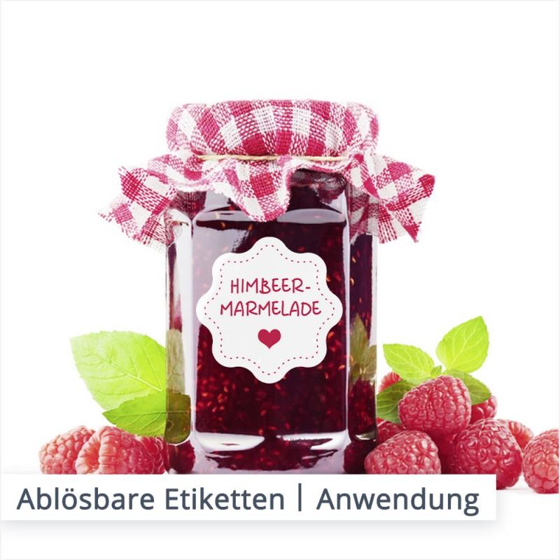 Der Klassiker unter den ablösbaren Etiketten. Auf Marmeladengläsern ist die semipermanente Beschriftung besonders beliebt. Das rückstandlose Entfernen des Etikettes ist für den Kunden einfacher und somit angenehmer.