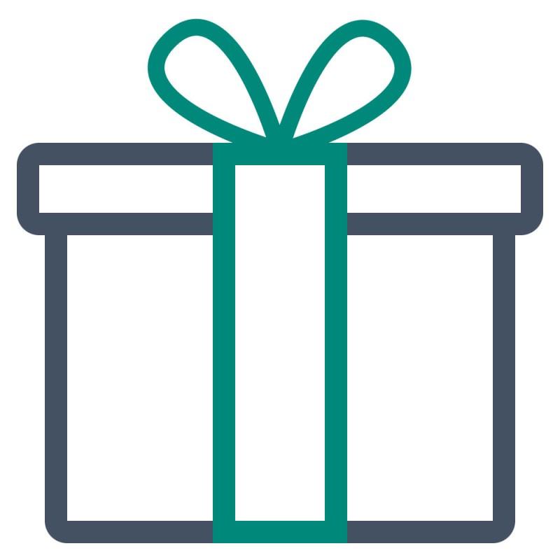Verpacken Sie Ihr Geschenk mit individuellen Aufklebern aus goldener oder silberner Klebefolie.
