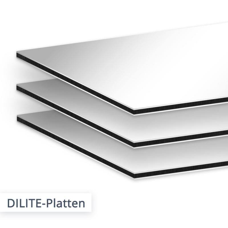 Die ultra leichte DILITE Aluminium Verbundplatte ist das günstigere Pendant zur bekannten DIBOND Platte. Der Unterschied ist minimal.