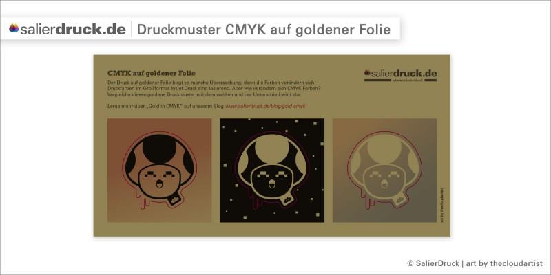 Druckmuster – CMYK auf goldener Klebefolie | SalierDruck