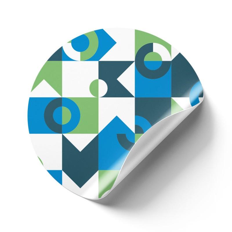 Runde Aufkleber aus umweltfreundlicher Folie werden komplett ohne Weichmacher hergestellt.
