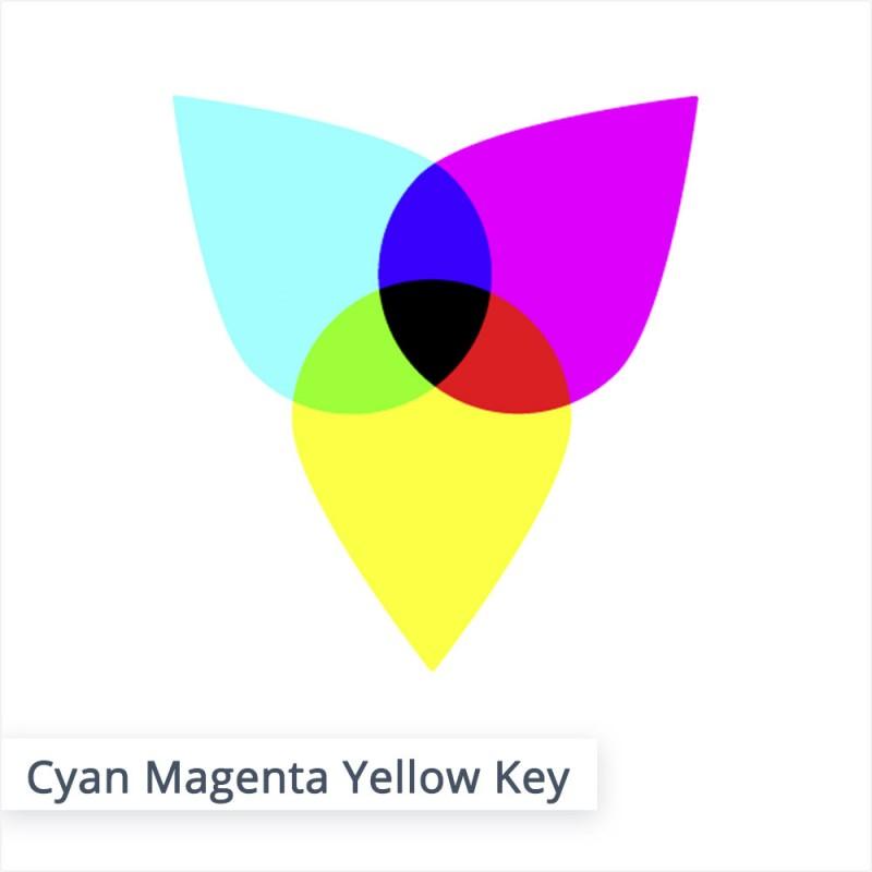 Der CMYK Farbraum, in welchem wir drucken, ist aus den Farben Cyan, Magenta, Yellow (Gelb) und Key (Schwarz) aufgebaut.