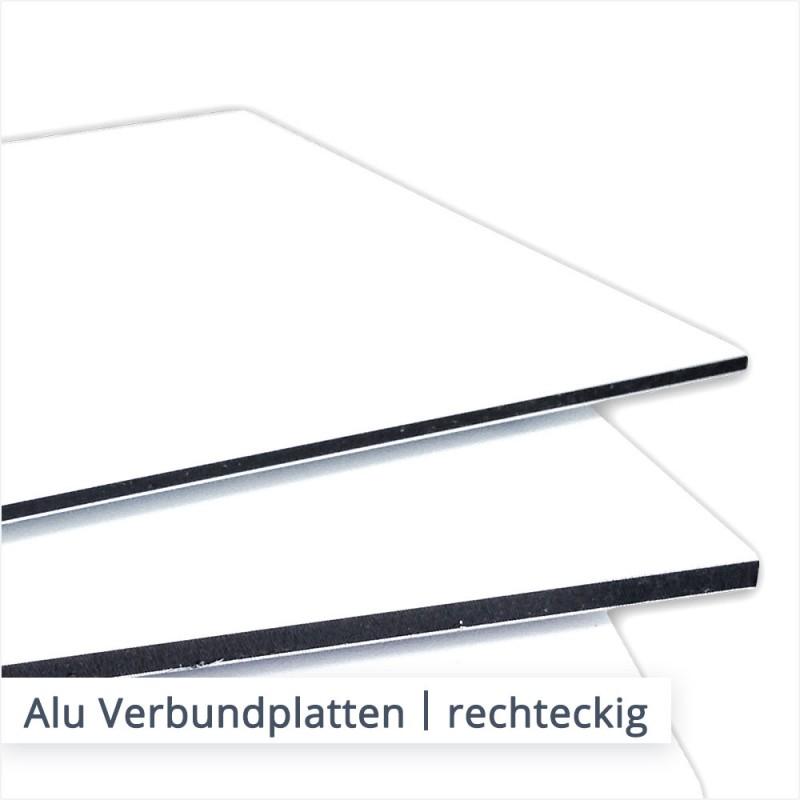 Alu Verbundplatten wie DIBOND und DILITE können in verschiedenen Stärken in individuellen Abmessungen rechteckig zugeschnitten werden.