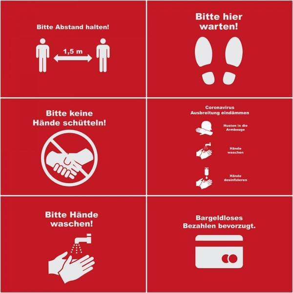 Corona Motive für verschiedene Sicherheits- und Warnhinweise | SalierDruck.de