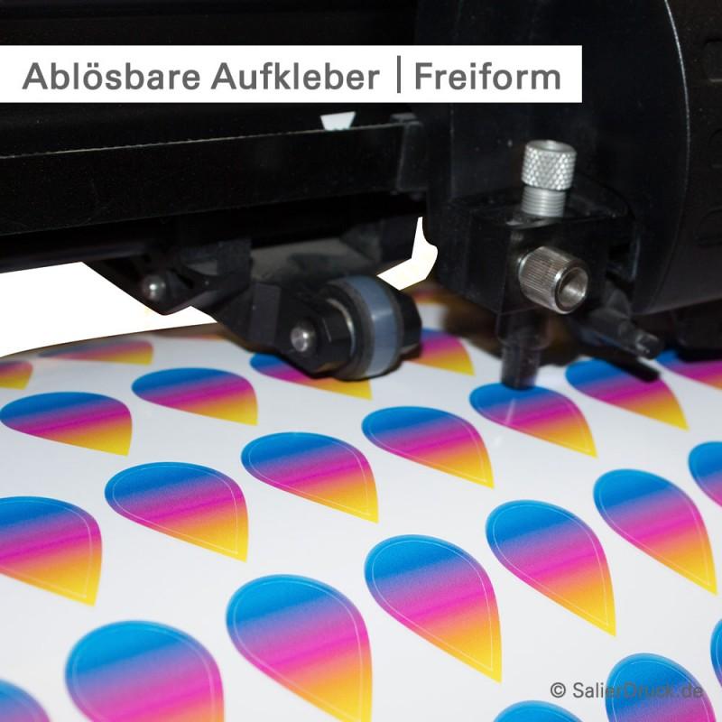 Ablösbare Aufkleber – Konturgeschnitten in Freiform | SalierDruck.de