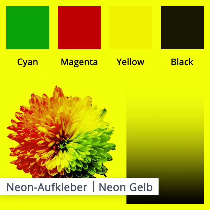 Bei diesem Beispiel sehen Sie die Farben auf einem neon gelben Untergrund.