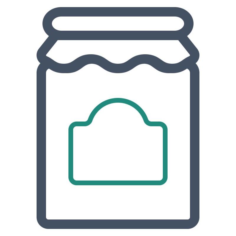Etiketten auf Flaschen und Gläsern müssen nicht immer langweilig rechteckig sein, ein rundes Etikett ist außergewöhnlich und schön.