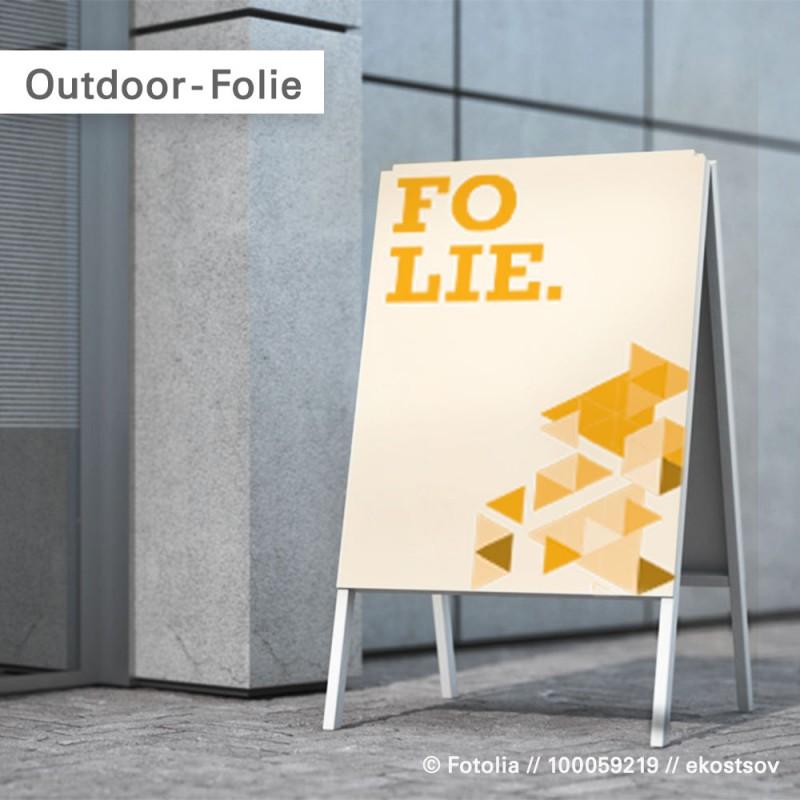 Wasserfeste Folie für den Kundenstopper im Outdoor Einsatz | SalierDruck.de