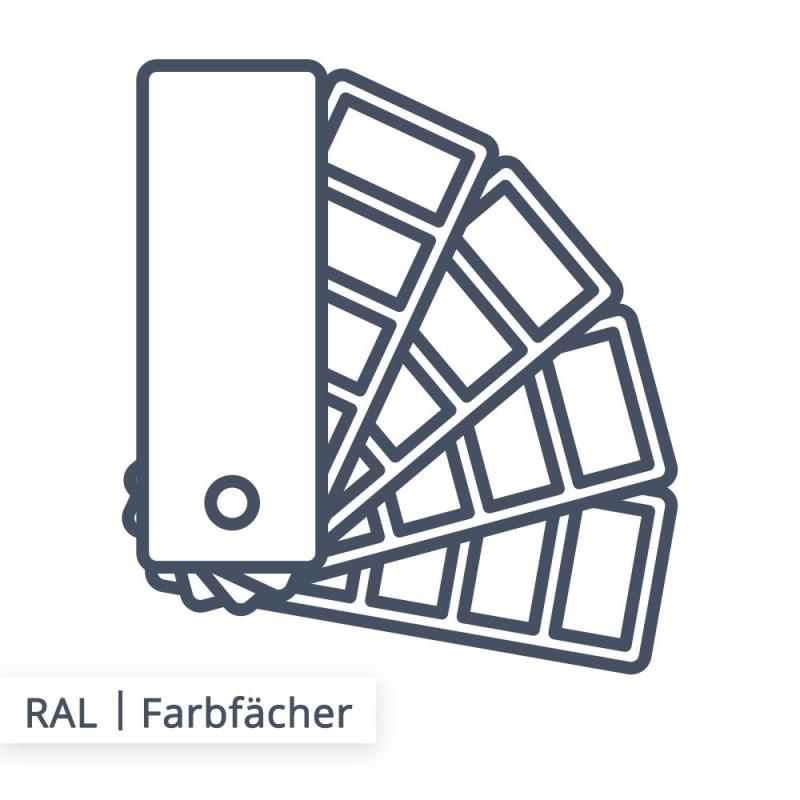 In dem Fächer der RAL Farben sind genormte Farben enthalten.
