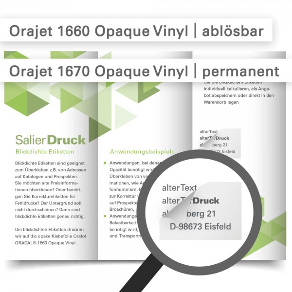 Blickdichte Etiketten drucken - online bestellen bei SalierDruck.de