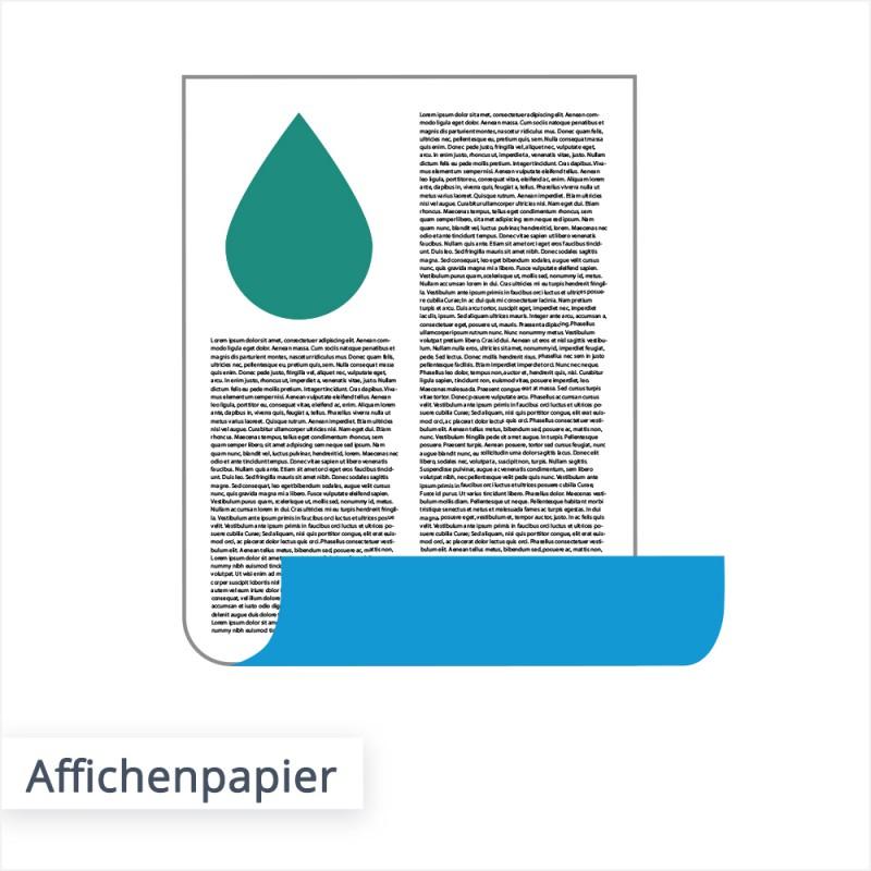 Das Affichenpapier wird auch Blaurückenpapier genannt und eignet sich besonders für die Werbung im Außenbereich.