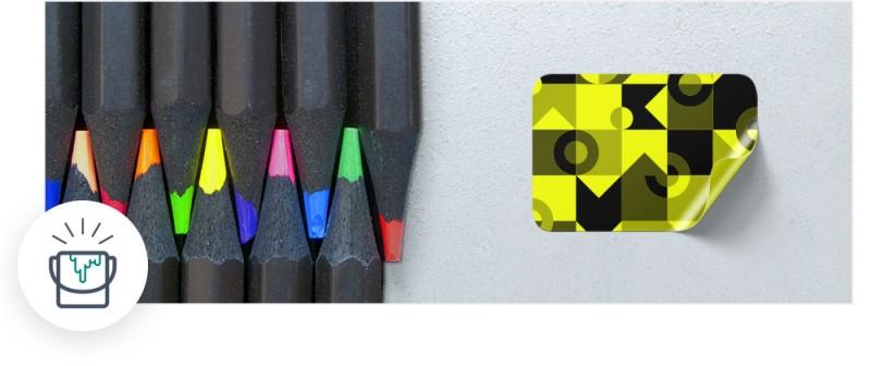 Etiketten in Neon-Farben wie Rot, Grün, Gelb und Pink stechen sofort ins Auge.