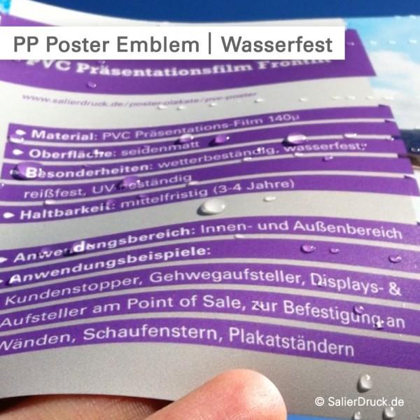 PP Poster von Emblem – Wasserfeste PVC Folie – ideal für den Außenbereich | SalierDruck.de