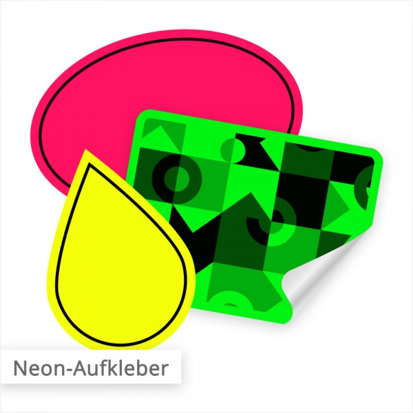 Neon Aufkleber im Digitaldruck – individuell nach Ihren Formen und Abmessungen | SalierDruck.de