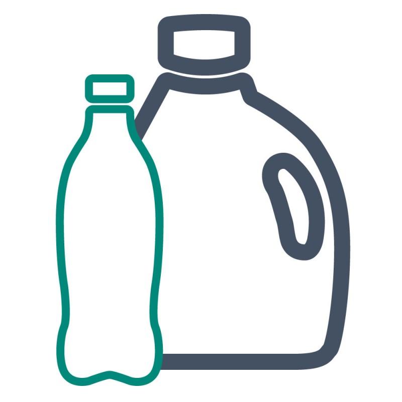 Boxen und Flaschen auf Plastik werden mit Produktaufklebern gekennzeichnet, damit der Inhalt auf den ersten Blick ersichtlich ist.