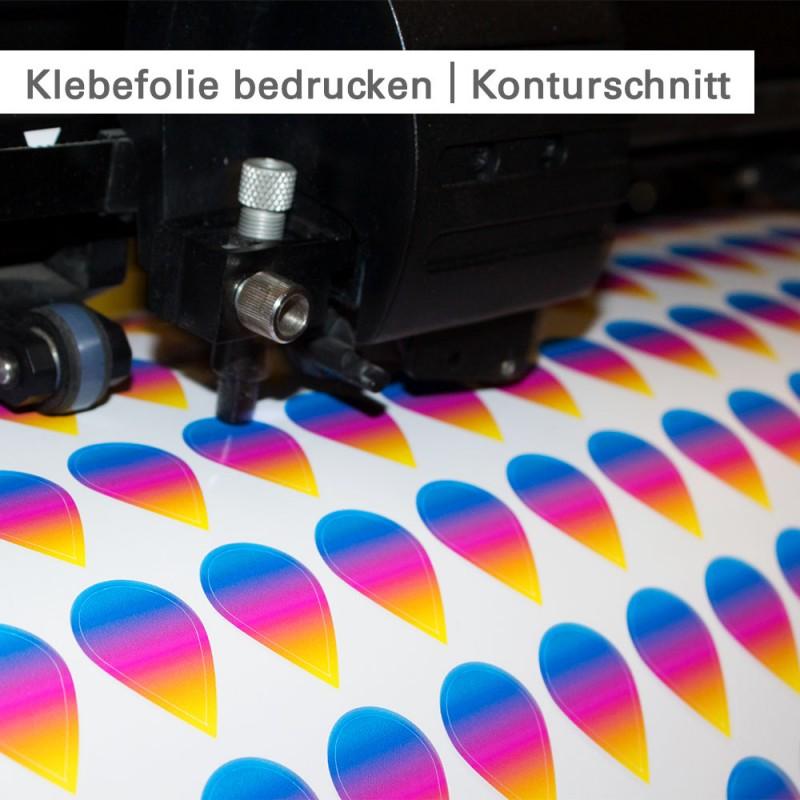 Klebefolie bedrucken – Konturschnitt von Freiformen – SalierDruck.de