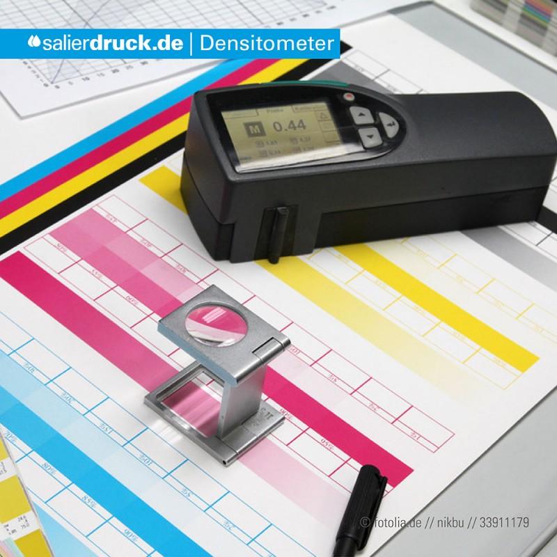 Das Densitometer mißt die Farbdichte.