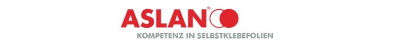 Der Hersteller Aslan verbindet seinen Namen mit seiner Passion. Das Motto 'Kompetenz in Selbstklebefolien' ist deshalb beim Firmenlogo integriert.