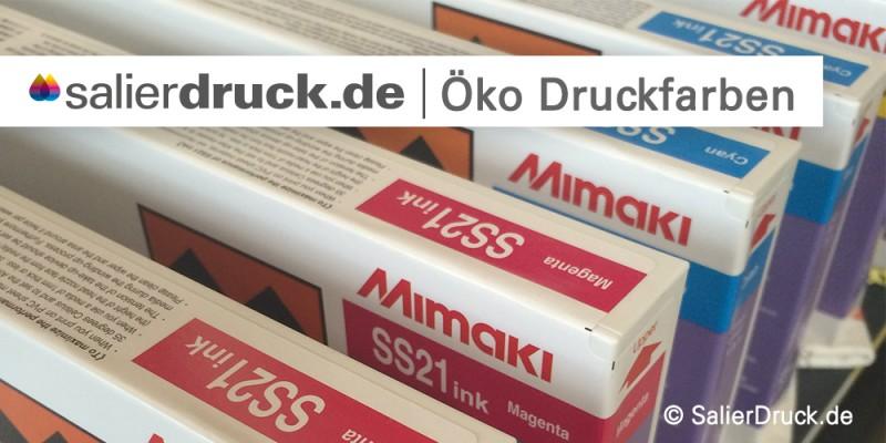 Wir verwenden für unseren Druck Öko Druckfarben der Firma Mimaki.