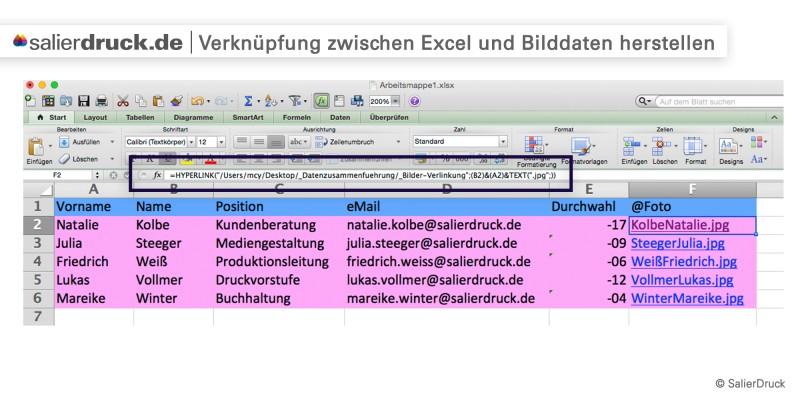 Verknüpfung zwischen Excel- und Bilddaten herstellen – Datenzusammenführung | SalierDruck
