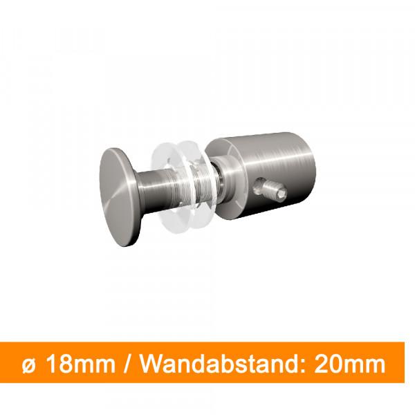 Abstandshalter 18mm Durchmesser mit 20 mm Wandabstand | einfach bei SalierDruck.de bestellen.