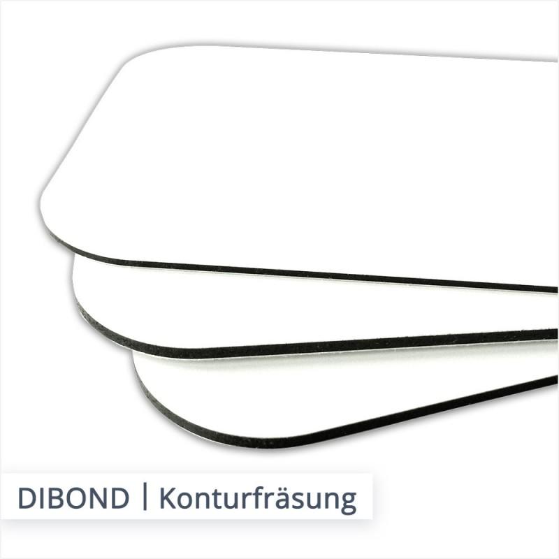 DIBOND Alu Verbundplatten können in jeglichen Formen konturgefräst werden, wie beispielsweise mit abgerundeten Ecken.
