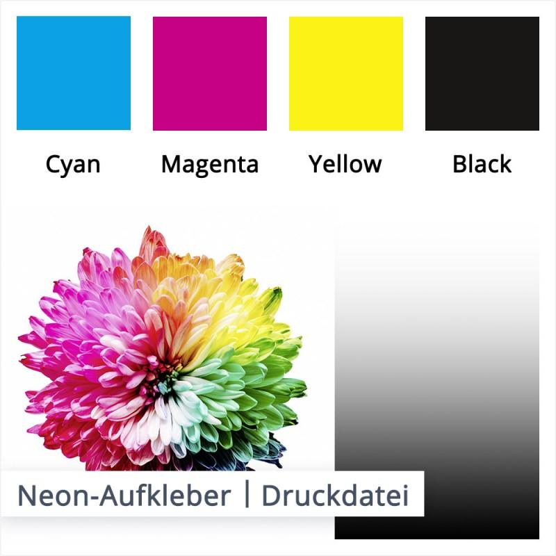 Lasierende Druckfarben wirken auf den unterschiedlichen Folien anders. Um Ihnen einen Druckvergleich zu geben, haben wir hier ein Beispiel des Drucks auf weißer Grundfolie.