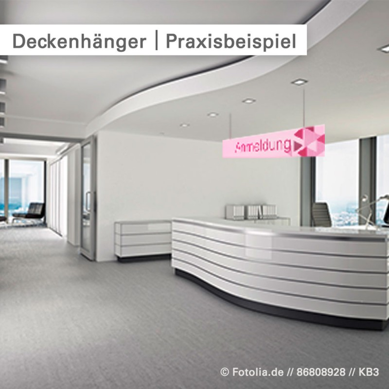 Deckenhänger – Anwendung in der Praxis– bei SalierDruck.de.