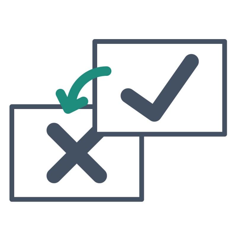 Ob geänderte Adressen, Bankverbindungen oder Ansprechpartner – blickdichte Aufkleber überkleben Druckfehler mit der aktuellen Information.
