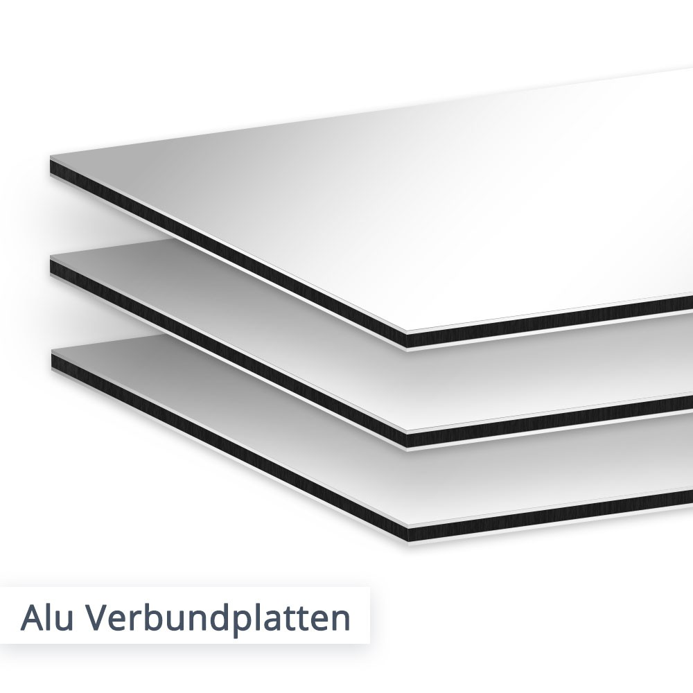 Plattenzuschnitte aus Aluminium Verbund –wählen Sie aus DILITE oder DIBOND. Der Material Unterschied ist gering, während Sie preislich bei der DILITE Platte sparen können.