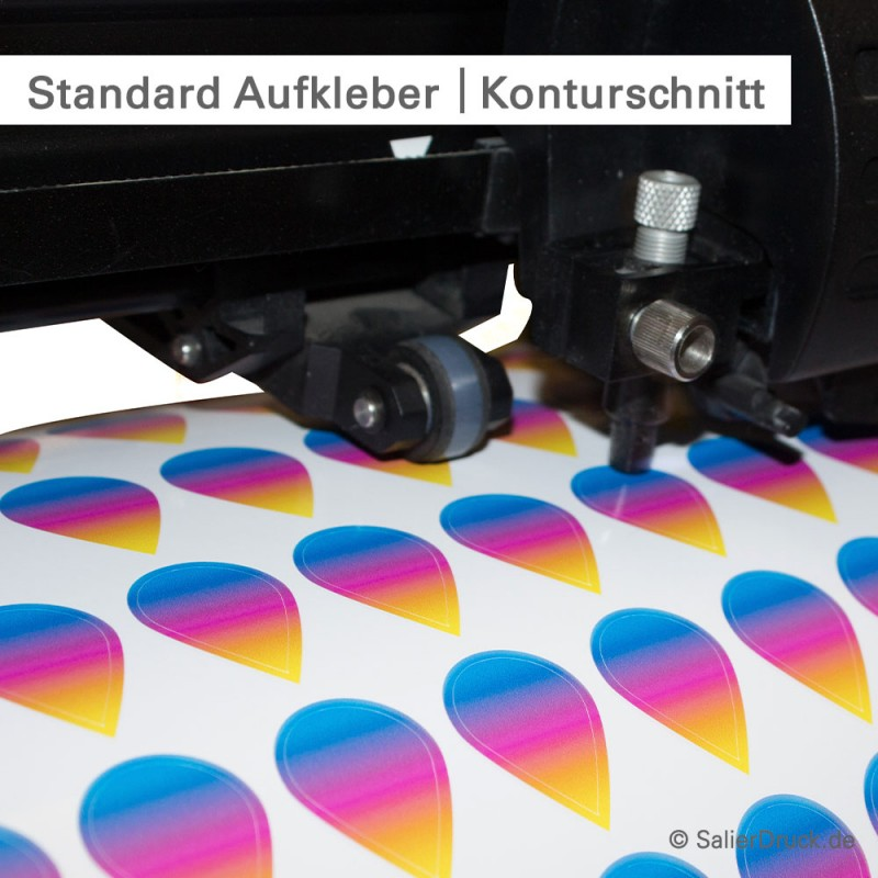 Monomere Klebefolie drucken und in Freiform schneiden - bei SalierDruck.de